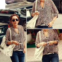 Summer Clothes Hot Sale Chiffon Sexy Women Casual Wild Leopard Shirt Three-Quarter sleeved Blouse S/M/L Summer Shirt 1pcs/lot
