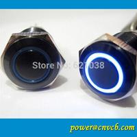 12v Waterproof metal Flat latching ring LED 12v waterproof  16mm black anti vandal switch