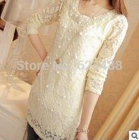 2014 Fashion New Women Embroidery Long-sleeved Chiffon Shirts Lace Blouse Lady Casual Basic Shirt Women's clothing