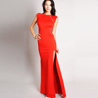 Free Shipping Women Vintage Lace Straight Back Slim Bodycon Split Side Maxi Long  Dress
