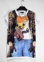 2014 New Fashion Fun Simulation Deer Head Width Sleeve Leopard Print Cowboy Songkan Sleeve Dress FJZ103