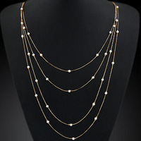 Fashion Korean Personality 18k gold multi layer chain pearl long necklace  free shipping for $15 mini mixed order