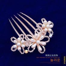 2014 new elegant women accessories crystal rhinestones pearl wedding hair comb for bridal