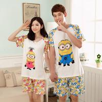100% cotton sleepwear female male summer short-sleeve spring and autumn cartoon lovers milk small doll t-shirt top