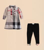 2014 hot sale newest spring summer children clothing girls stripe plaid suit set 2 pcs/set brand 18M-6T half sleeve t-shirt