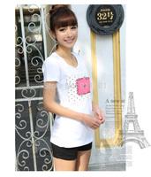 2014 summer new letters printed round neck t-shirt 6507 new short-sleeved t-shirt women's t-shirt B641-6507