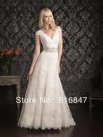 2014 New Style Lace Beaded Long White/Ivory Sheath Cap Sleeve V-neck Bridal Gown Wedding Dresses Custom Size Free Shipping