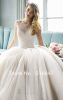 2014 New Fashion Long White/Ivory Spaghetti Strap A-Line Beading Organza Bridal Gown Wedding Dresses Custom Size Free Shipping