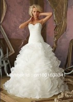 2014 New Organza Long White/Ivory Ball Gown Bridal Gown Wedding Dresses Custom Size Free Shipping