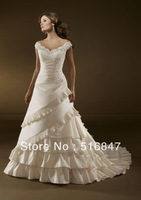 2014 New Style White/Ivory Satin Applique A-Line Cap Sleeve Long Bridal Gown Wedding Dresses Custom Size Free Shipping