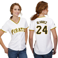 Free Shipping Pittsburgh Pirates #24 Pedro Alvarez Women's Baseball Jersey Authentic Cool Base Double Stitched Lady Jerseys