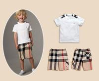 2014 new hot sale newest fashion spring summer children clothing boys plaid suit set 2 pcs/set short sleeve t-shirt+pant classic