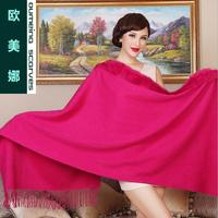Oumeina High-grade Rabbit fur+ 100% woll shawl pashmina  wholesale plain wild 180cm X 70cm  LJD-W27