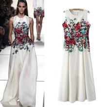 Newest Spring Summer 2014 Big Runway Looks Maxi Floral Print Long Section Of Catwalk Dress Sleeveless women Dresses White Plug