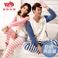 2 set lovers sleepwear female 100% long-sleeve cotton spring and autumn cartoon sleepwear lounge set