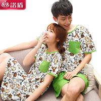 2014 summer sleepwear female summer nightgown male sleepwear spring and autumn summer lovers 100% cotton thin female sleepwear