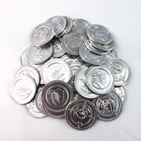 100x PLASTIC SILVER  PIRATE TREASURE COINS LOOT GOODY PARTY BAG PINNATA FILLERS TOYS HALLOWEEN PARTY PROM SUPPLIES BAR CLUB TOY