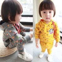Children's clothing child baby 100% cotton set twinset male female child sweatshirt set spring and autumn children