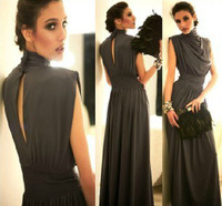2014 New Fashion Women Sexy Long Maxi Prom Gown Winter Dress Evening Elegant Party Pleated Ruffle Girl 3 colors brand dress