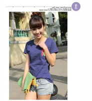 College Wind 2014 Korean version of the beautiful new pocket digital wild cotton T-Shirt Women's casual summer B641-6518