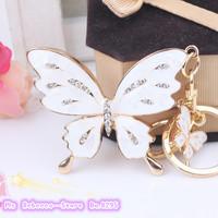 crystal butterfly lovers car keychain bags buckle key ring women bag key chain