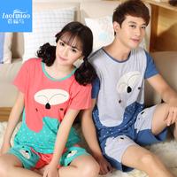 2014 summer lovers sleepwear female 100% male short-sleeve cotton sleepwear spring and autumn lounge set