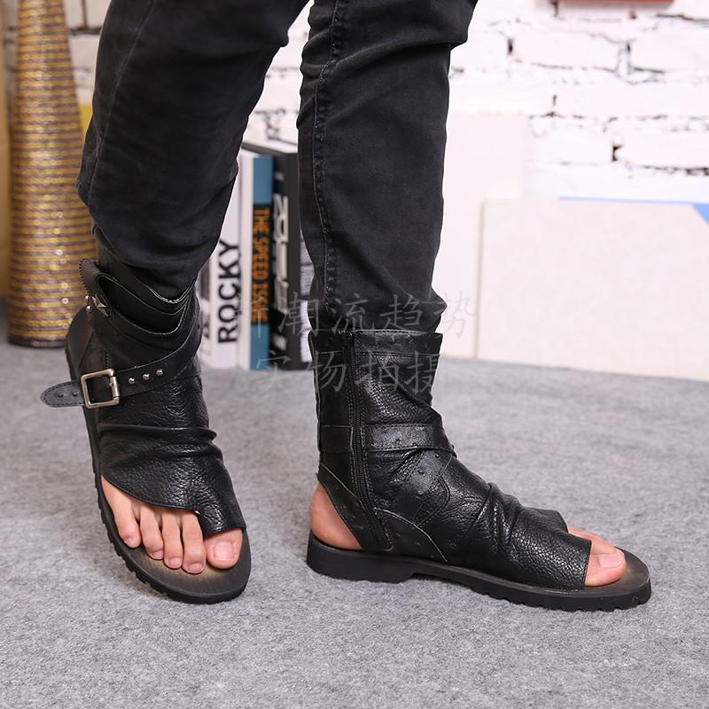 Summer new 2014 men genuine leather sandals fashion rivets ankle strap