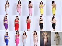 thick rayon best quality hot pink two piece set bandage dresses white.pink.yellow.purple.red.black.blue..grey.beige.gold foil