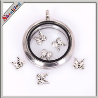 Wholesale Tibentan silver Alloy  floating locket charms for glass locket Wings Charms