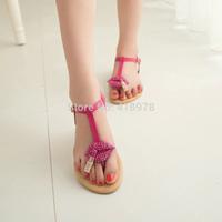 The new 2014 summer sweet female thong sandals flat sandals