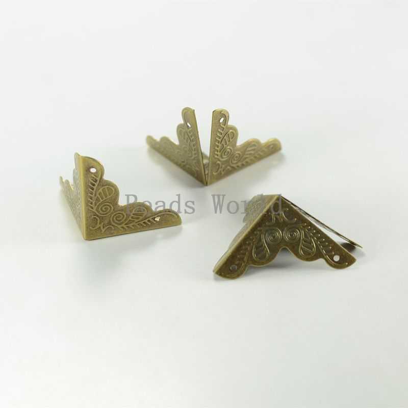 Wholesale 30 Pcs Bronze Tone Carving Luggage Decorative Protectors Corner 25x25mm Box Bags Jewelry Accessories W03686