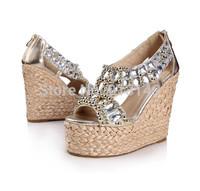 2014 new summer elegant CZ diamond bohemia peep toe wedge women pumps shoes free shipping