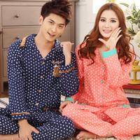 2014 female autumn long-sleeve lovely sleepwear spring and autumn male plus size 100% cotton lounge lovers sleep set