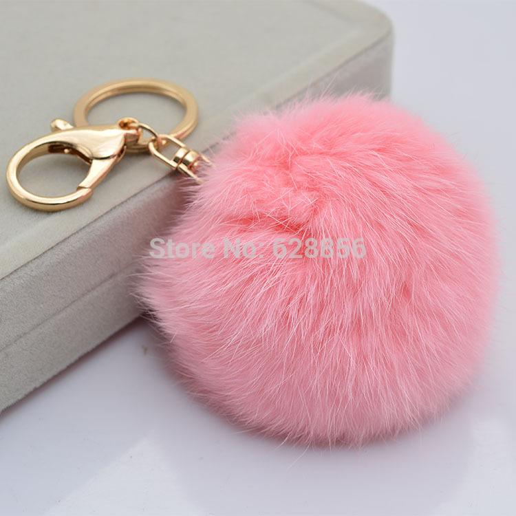 Cute Genuine Leather Rabbit fur ball plush key chain for car key ring Bag Pendant car keychain(China (Mainland))