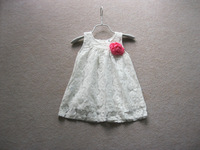DS4068  free shipping Girls lace princess baby vest   dress  with red flower  1-5Y