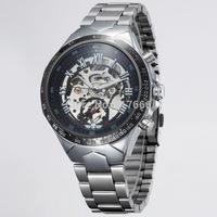 Winner Men Sports  Mechanical watches  Luxury brand Analog wristwatch Silver Steel Strap Military watch
