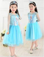 wholesale 30pcs 2014 new summer girls dress children's clothing frozen princess dress via Express free shipping