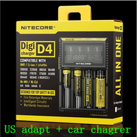 2014 nitecore D4 Lcd Battery Charger Universal Smart Intelligent Digital 2.0 Fit LI-ion NiCd NiMh AA 18650 US adapt+car charger