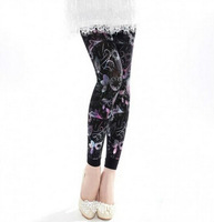 China Famous Brand LangSha Women's RFashion Temperament Colorful Butterfly Printed Pattern Add Crotch Leggings Black