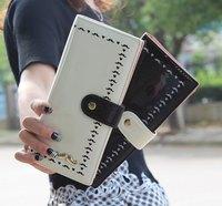 Free Shipping PU Beard Hollow Checkbook Change Coin Phone Bag Women Purse Handbag Ladies Wallet