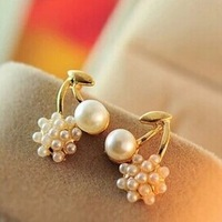 E162 brincos cherry earrings new earrings Pearl stitching ball lady cherry stud earrings (MIN order $10 mixed order)