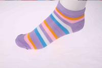 China Famous Brand LangSha Women's Winter Comfortable Color Stripe Long Cotton Socks Blue/Pink/Black  Color Sent By Random
