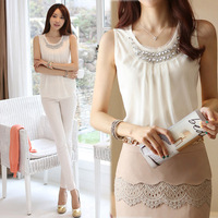 New 2014 Summer Fashion Women Lady Chiffon Thin Diamonds O-Neck Sleeveless Draped Blouses Shirts, White, S, M, L, XL, 2XL