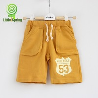 2014summer  new hot sale kids sports shorts boys yellow print number shorts pants children   pants LZ-K0079