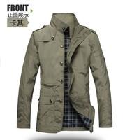 Men's jacket Dust coat Long style Casual Black khaki Polyester Thin Outdoors Free shipping Plus size 4XL 5XL