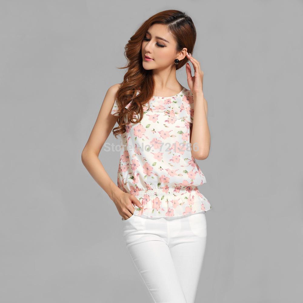 Freeshipping Genuine verão nova impressão chiffon camisa roupas melhores blusas sem mangas qualidade por atacado das mulheres(China (Mainland))