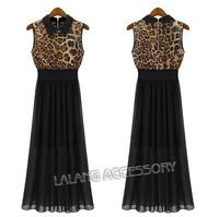 New Arrival Women Leopard print Dress European Style women black  Chiffon Dress Sleeveless Dress AY850824