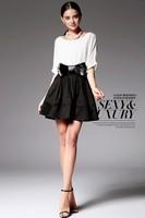 2014 New fashion Cheap Summer Elbow Sleeve Dresses bow-knot Belt One-piece Women Half Sleeve Dress Free Shipping,A-line Dress,