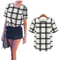 2014 OL Style Black and white grid printed shirts women short shirts Round Neck batwing sleeve ladies chiffon Blouse FE3087#M1