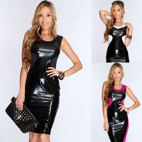 M L 3 Colors Wholesale Price Fashion Summer Knee Length Black Patchwork Bandage Club Party Dress 2014 Women Leather Dresses